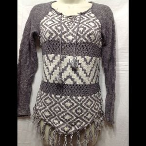 Girl's size 14 JUSTICE sweater w/ fringe
